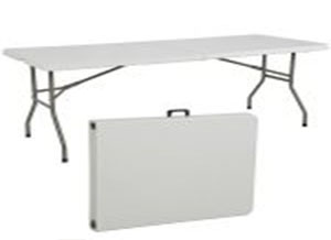 white camping trestle table folded and unfolded