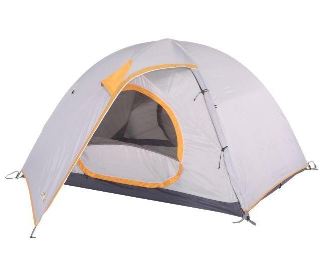grey and orange 2 man hiking tent